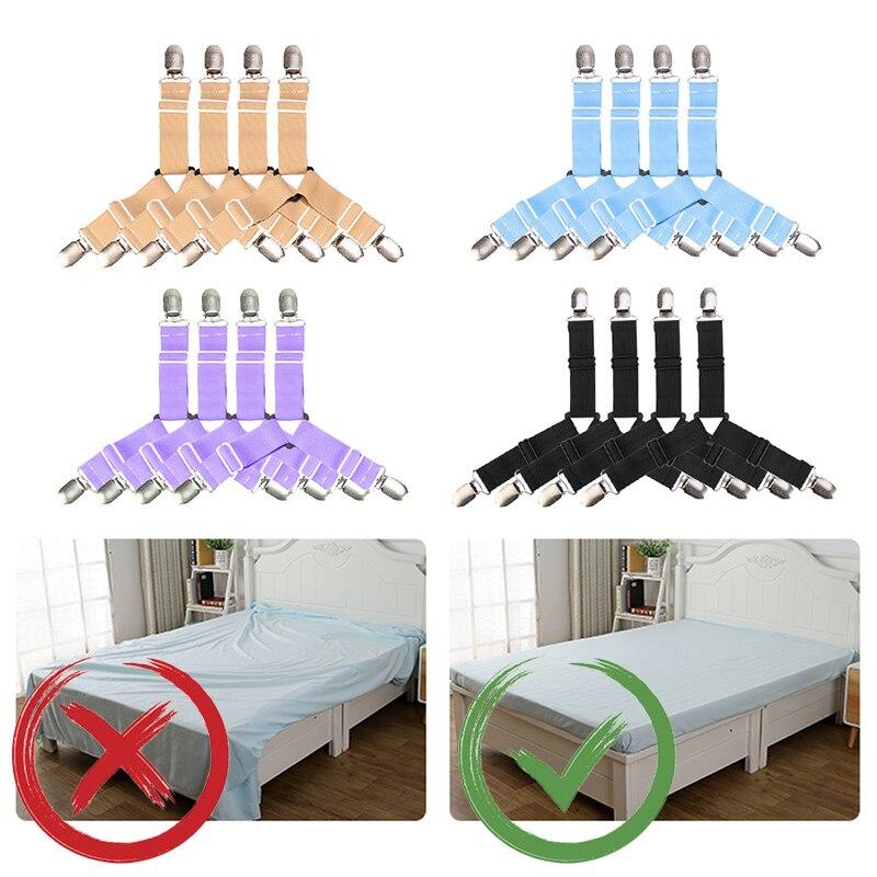 4 pçs/set elástico folha de cama titular cinto prendedor clipes folha de cama têxteis para casa cama clipe colchão cobertores gadgets