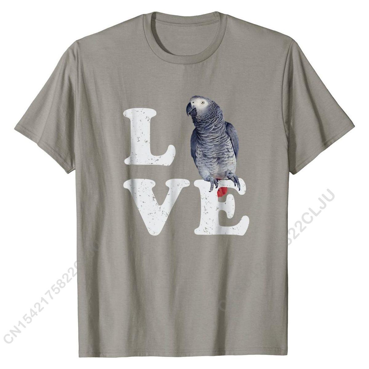 أنا أحب بلدي الأفريقية رمادي الببغاء تي شيرت | عشاق الطيور هدية بلايز قميص Hot البيع كول القطن الرجال تي شيرت كول