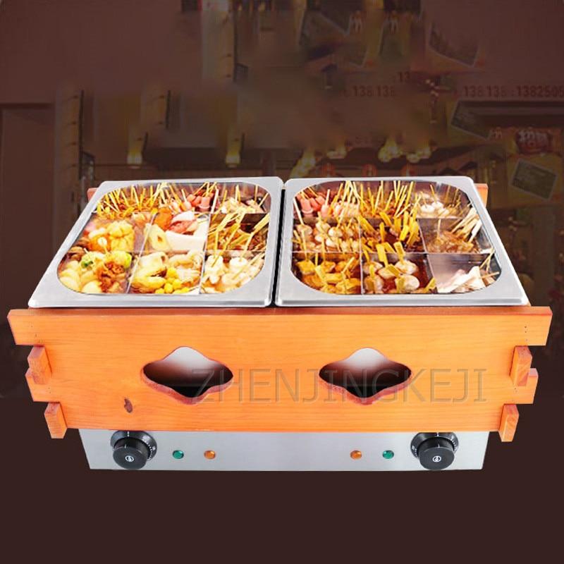 الكهربائية الحرارية 18 خلايا مزدوجة اسطوانة Oden ماكينة طهي وجبة خفيفة إناء/ قدر المعدات حفنة من البخور طباخ المعكرونة