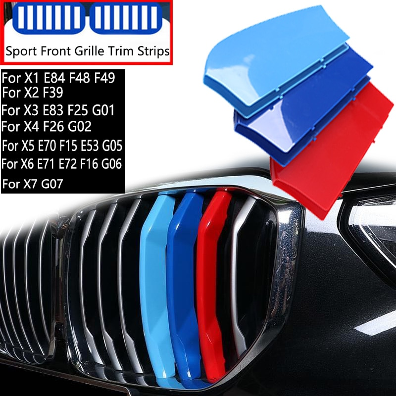 3 uds coche tira de guarnición de parrilla para BMW X1 X2...