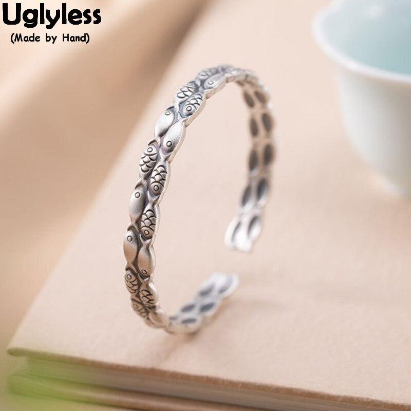 Uglyless doble círculos sólidos 999 plata completa peces brazaletes para mujeres Vintage tailandés plata pescado Animal abierto brazalete divertido joyería