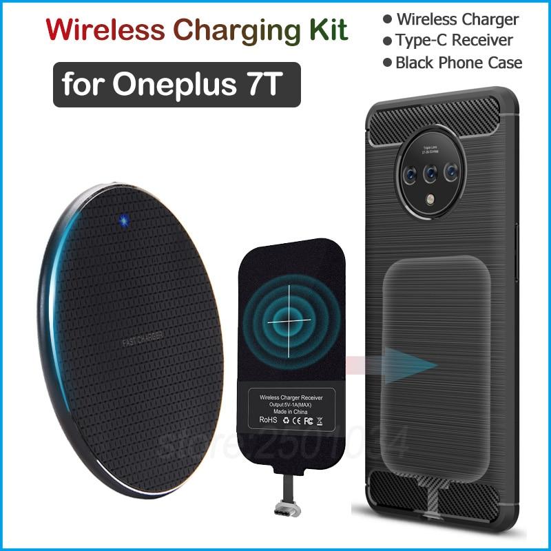 Carga inalámbrica para Oneplus 7 T Qi cargador inalámbrico + USB tipo C receptor adaptador regalo suave TPU funda para Oneplus 7 T 7 T