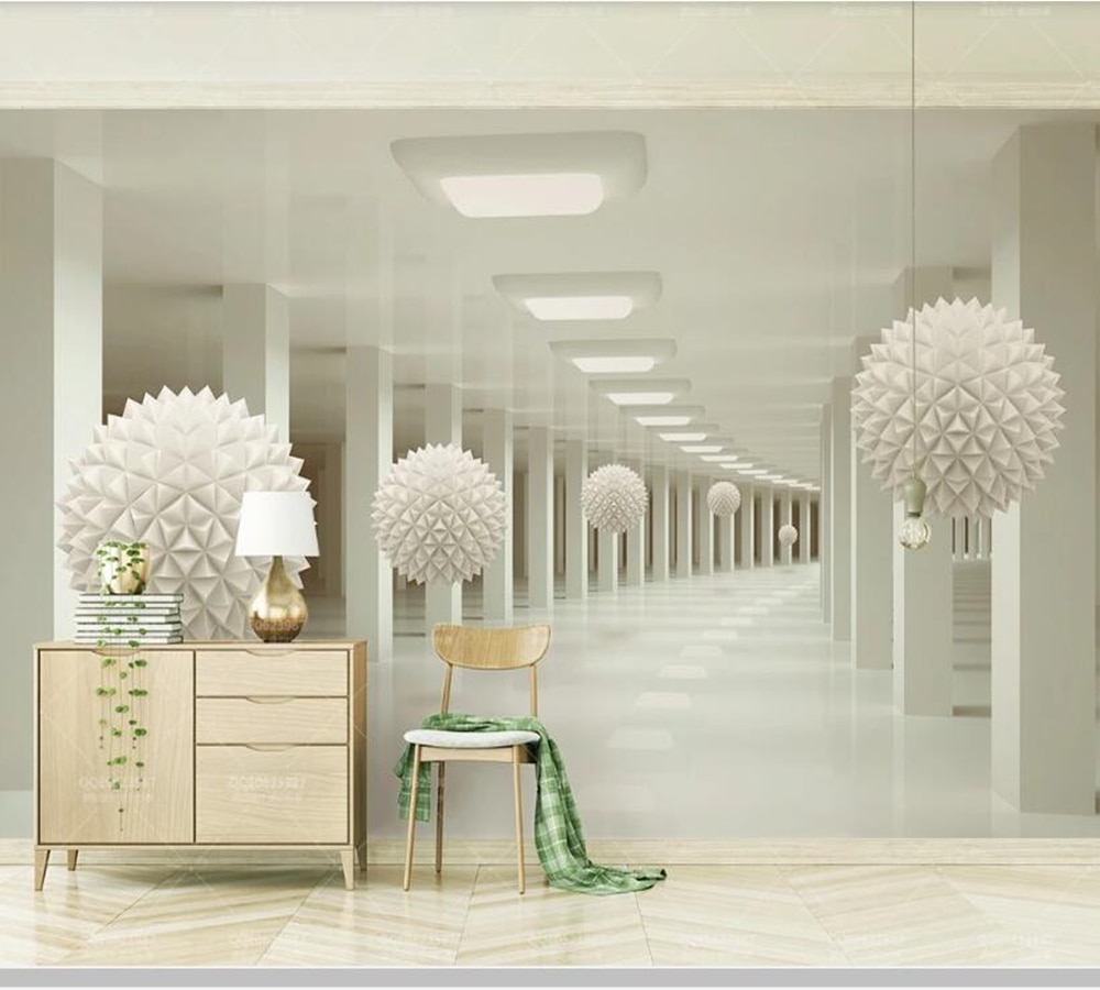 Papel de parede abstracto espacio corredor esfera blanca 3d mural de fondo estéreo, sala de estar tv pared dormitorio papeles tapiz decoración del hogar