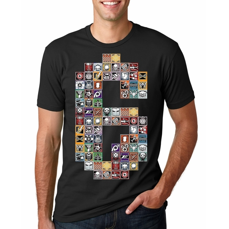 New Summer Tom Clancy's Rainbow Six Siege Men's T-Shirts Gold Badge 6 Printed T Shirt Men T Shirts Male TShirts