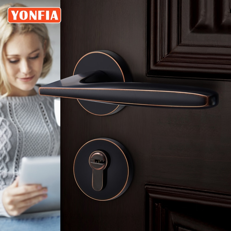 Yonfy 8001 التصميم الأمريكي الحديث ORB أمن الوطن قفل باب خشبي مع مفتاح الحمام رافعة مقبض الباب للباب الداخلي