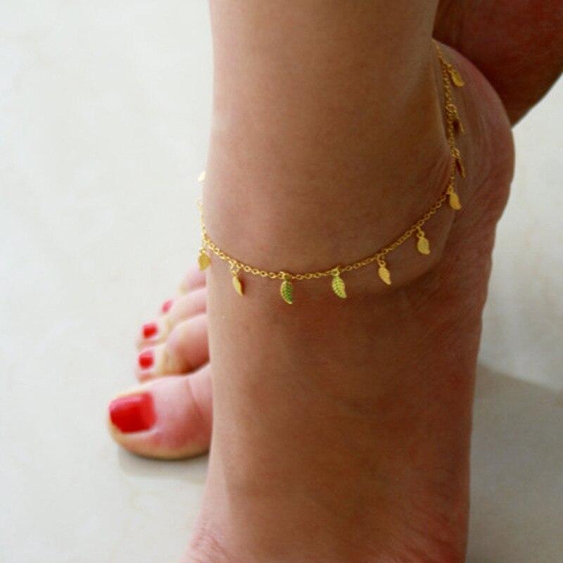 Bohème or couleur étoiles feuilles bracelets de cheville été plage pieds nus jambe Bracelet chaîne de pied Vintage à la main Yoga cheville pour les femmes