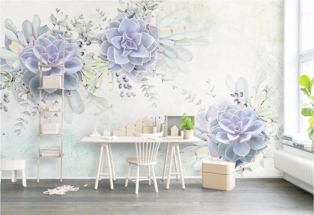 CJSIR papel pintado personalizado decoración del hogar Luz mural acuarela fresca púrpura 3d suculentas TV Fondo pared murales 3d papel tapiz Decoración