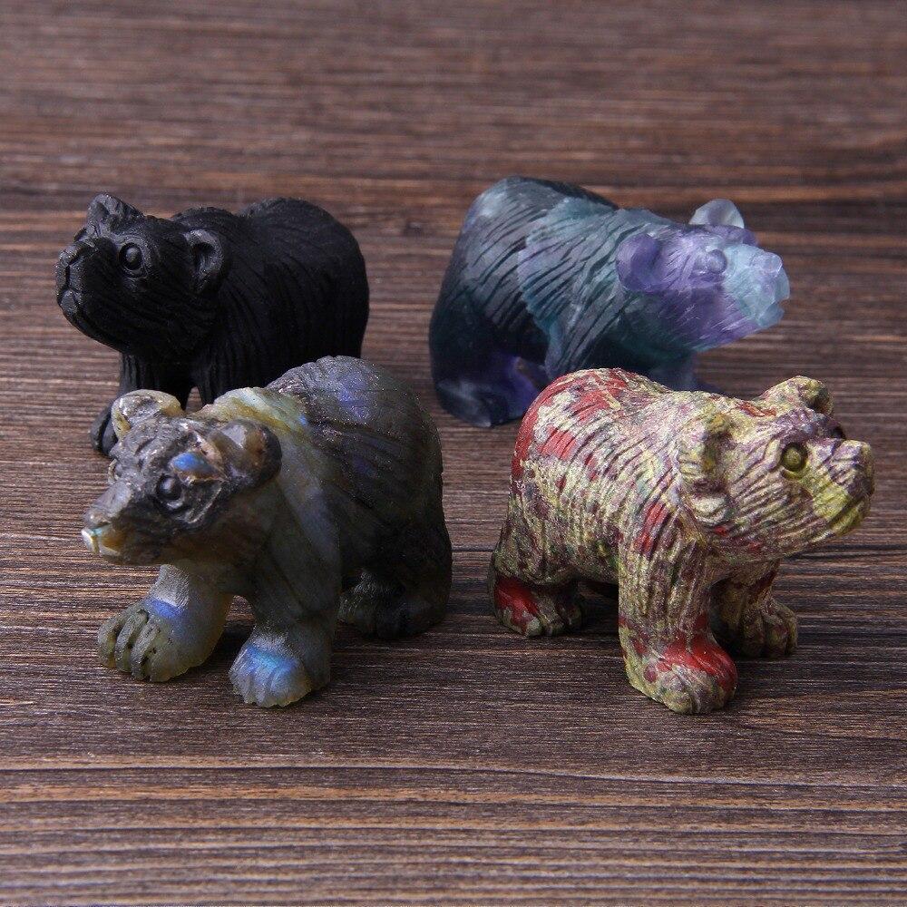 VINSWET Natural Jad e cuarzo cristal bolsillo Mini oso mano tallada escritorio adornos piedra lunar transparente ornamento regalo