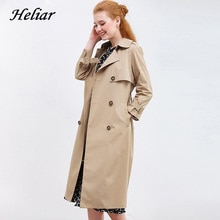 Abrini Double Breasted LapelTrench Coat Pocket Trench Coats 2021 Autumn Women Outerwear Coats With B