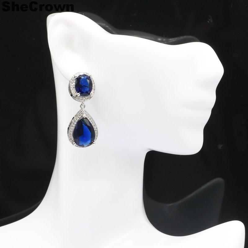 SheCrown Beautiful Created Tanzanite White Cubic Zirconia Gift For Girls 925 Silver Earrings 34x14mm