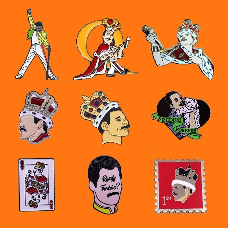 Prendedores de esmalte Queen Freddie Mercury King, broche de dibujos animados de Metal divertido, mochila, bolso, Collar, solapa, insignias, joyería de moda para hombres y mujeres