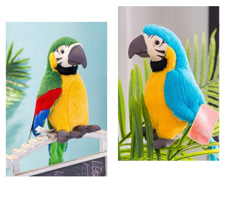 Children Electric Plush Toys Can Learn To Talk Parrot Fan Wings Repeat Reading Tongue Voice Recording Parrot Dolls For Kid Gift enlarge