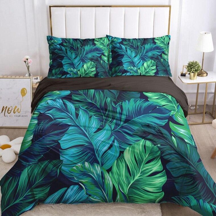 Комплекты постельного белья 3D, роскошный комплект с пододеяльником, одеяло, пододеяльник, чехол с зелеными листьями, 2-3 шт./компл., Постельно...