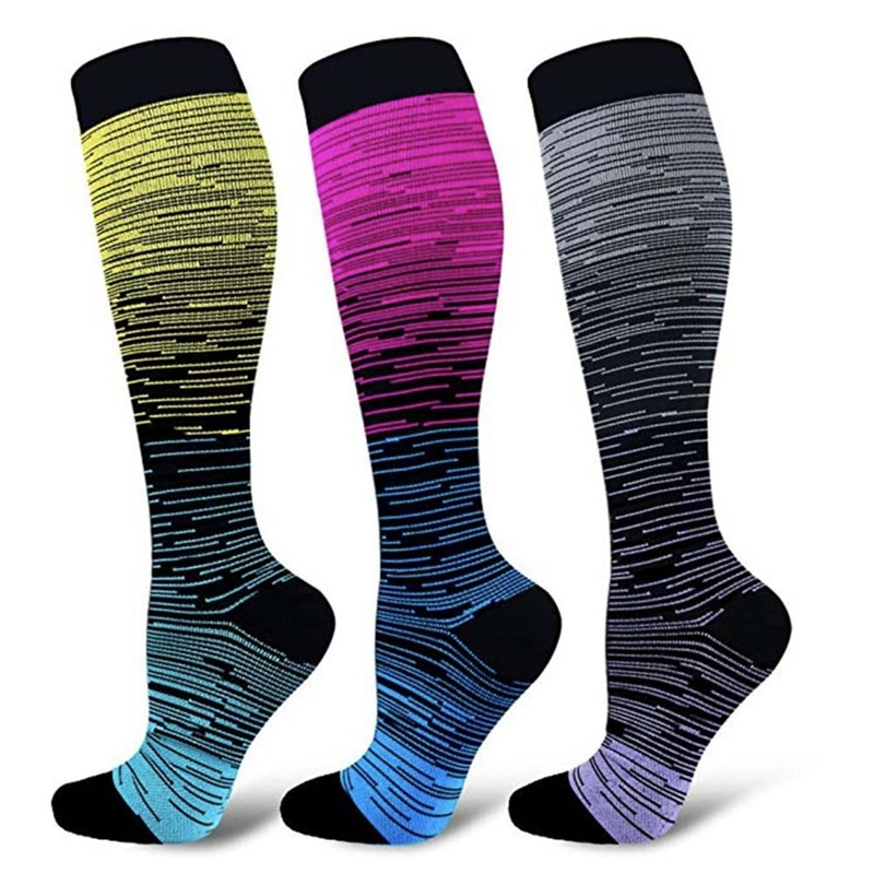 New Compression Socks multicolor Knee High/Long Gradient Printed Polyester Nylon Hosiery Footwear Accessories For Women Men