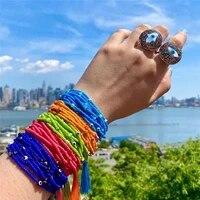 fine tassel women bracelet mgb rice beads hand woven glass evil eye pendant bracelets 8 circle female jewelry