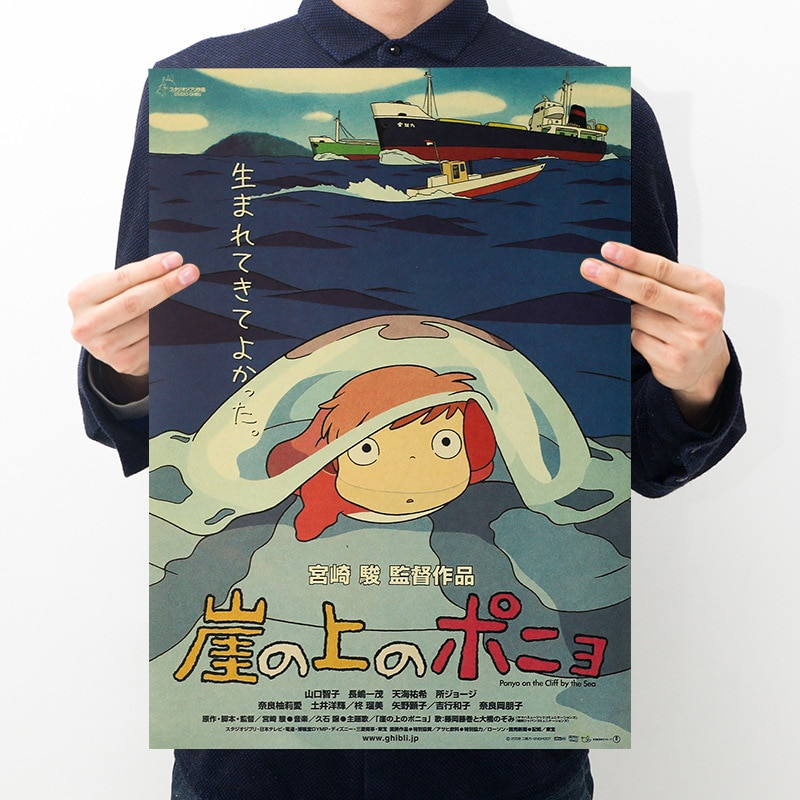 AliExpress - Famous anime Miyazaki Ponyo on the cliff Retro kraft paper posters bedroom decoration painting wall stickers 51*36cm