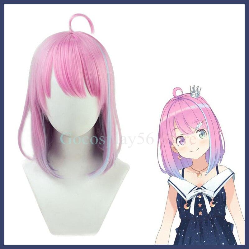 VTuber Himemori Luna Wig Hololive Girls Cosplay Youtuber Gradient Pink Purple Short Straight Heat Resistant Hair