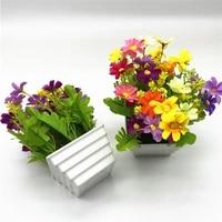 artificial colorful daisy flower simulation plant bonsai white flowerpot home living room desktop diy wedding party decoration