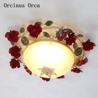 American Rural Red Rose ceiling lamp living room corridor balcony bedroom European romantic retro led flower ceiling lamp