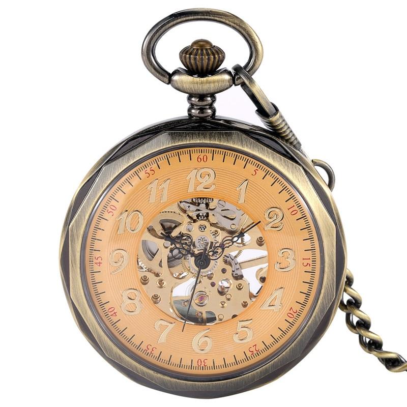 Steampunk Mechanical Pocket Watch Analog Handwinding Skeleton Clock for Men Women Pendant Chain Watches Open Face Arabic Number