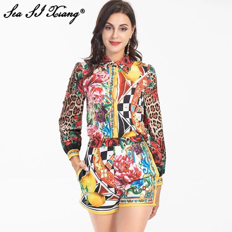 طقم أزياء مصمم للخريف من Seasixiang قميص نسائي بياقة مقلوبة وأكمام طويلة + شورت بطباعة زهور عتيقة مكون من قطعتين