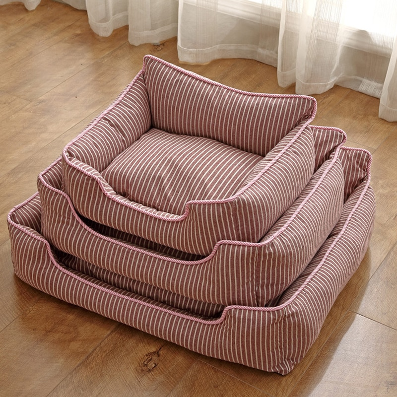Lujosos sofás para gatos y perros, sofás a rayas, sofá para mascotas, alfombras de colchón extraíbles, productos para mascotas lavables antihumedad para todas las estaciones