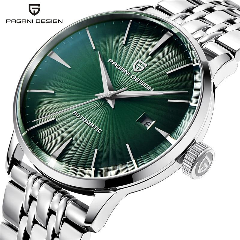 Простые мужские водонепроницаемые автоматические механические наручные часы Pagani Design, мужские зеленые Стальные наручные часы, мужские часы