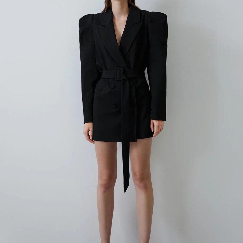 XIKOM 2021 Autumn Black Blazer Women Sashes Long Sleeve Cardigan Women's Jacket Office Lady Loose Coat In Strict Style Top