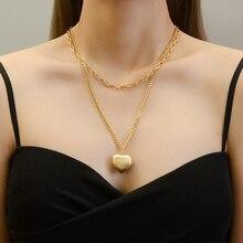 Amaiyllis 18k Gold Doppel Layered Herz Liebe Anhänger Halskette Persönlichkeit Mode Lange Halskette Für Frauen Schmuck Geschenk