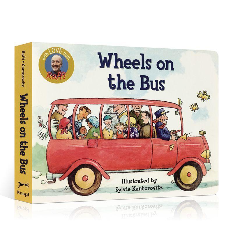 Оригинальная картонная книга с изображением на английском языке, книга с колесами на автобусе для просвещения на английском языке, обучающ...