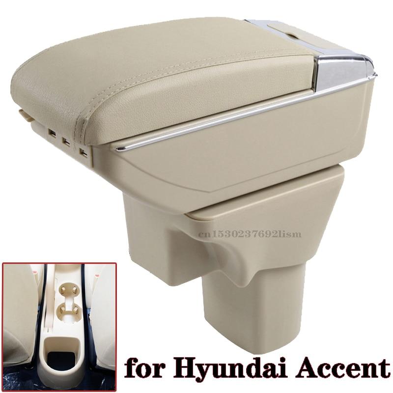 Para Hyundai acento reposabrazos caja de 2006, 2007, 2008, 2009, 2011 tienda Central de almacenamiento caja de la Copa Cenicero gran espacio
