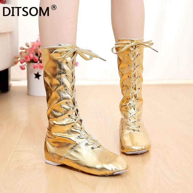 2021 танец; Дамские кожаные золотой и серебряный цвета для балета и танцев для маленьких девочек, (Джазовки), женские ботфорты Туфли для сцены
