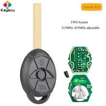 Reemplazo Keyecu EWS remoto clave-3 botón, 433 MHz/315 MHz ajustable ID44 Chip para BMW Mini Cooper S R50 FCC ID: LX8 FZV