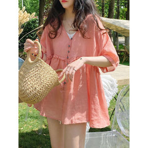 Baby Shirt Top Korean Version Loose V-neck Sweet Fungus Solid Color High-end Puffy Shirt Short Sleeves Blouse