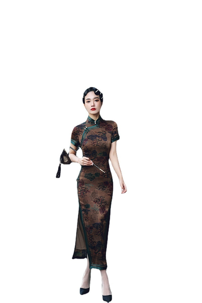فستان H.RON G.X صيفي جديد صيني ريترو شيونغسام أنيق ضيق محسّن النسيج القطني تشيباو موضة الحفلات النسائية الطويلة تشيباو