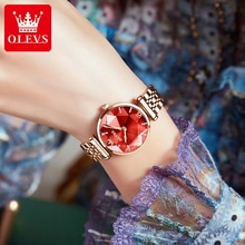 OLEVS Womens Wrist Watch 2021 Luxury Rose Gold Stainless Sapphire Glass Quartz Ladies Watches For Wo