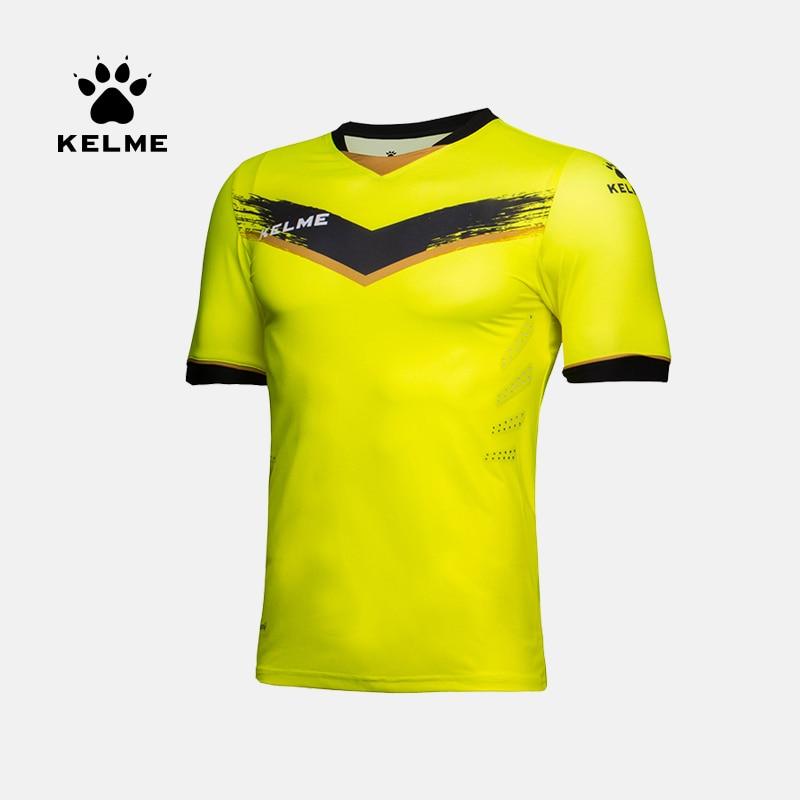 KELME Men's Soccer Jersey Football Uniforms Summer Training Suits Original Team Jersey Short Sleeve Breathable Male K16Z2001