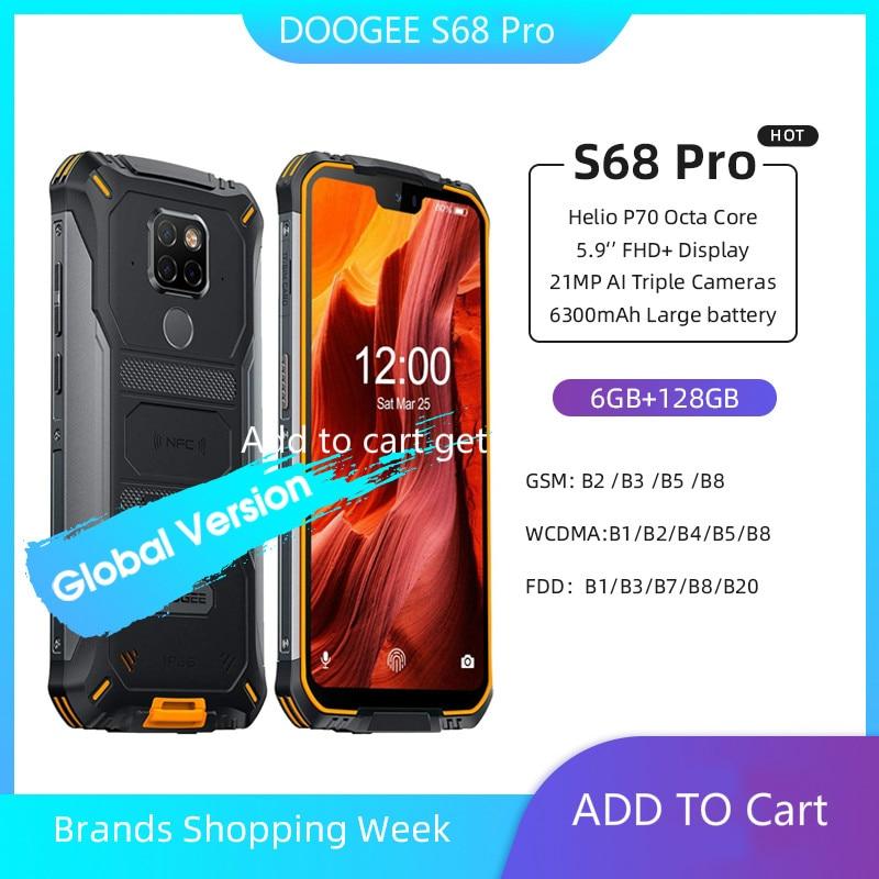 Перейти на Алиэкспресс и купить Doogee S68 Pro смартфон с 5,9-дюймовым дисплеем, восьмиядерным процессором Helio P70, ОЗУ 6 ГБ, ПЗУ 128 ГБ, 21 МП, 8 Мп, 10 Вт