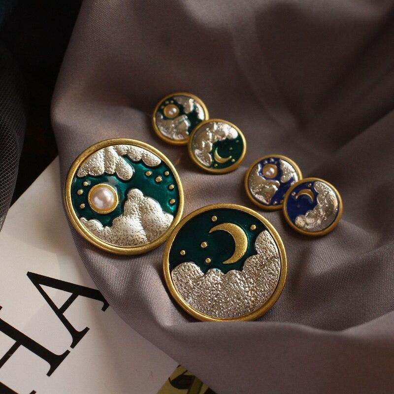 Brincos femininos nuvem sol lua pérola nebulosa céu estrelado bie zhen broche feminino moda jóias em forma de ouro antigo pino
