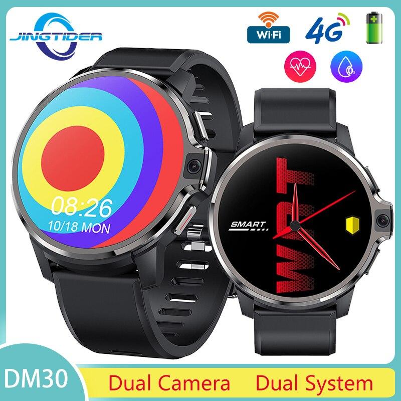 DM30 4G ساعة ذكية نظام مزدوج كاميرا 5.0MP 4GB 128GB الرجال هاتف الساعة الذكي 1.6