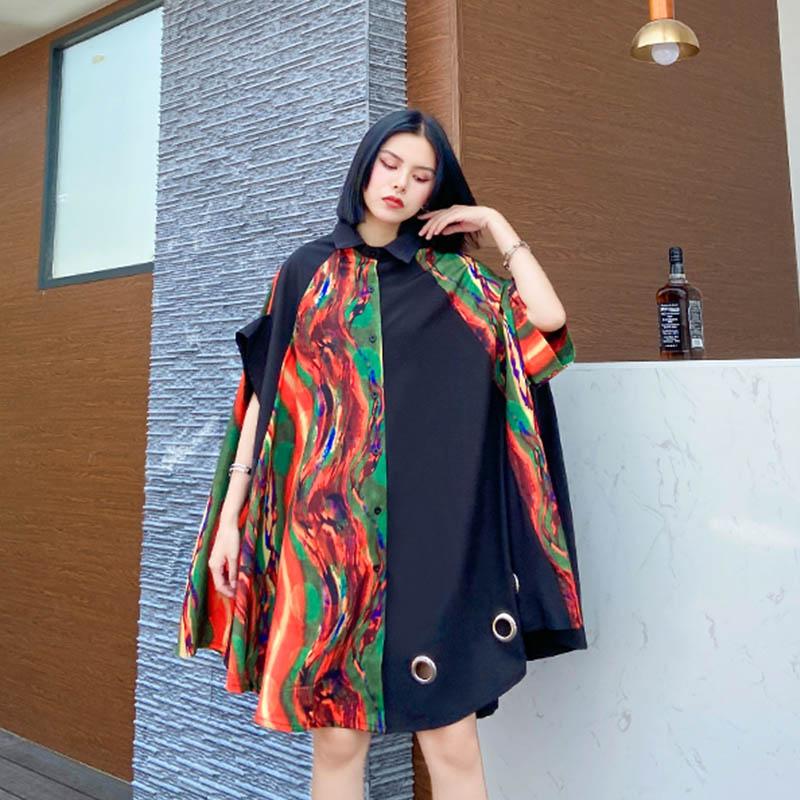De talla grande abstracto Cárdigan para mujer blusas 2020 seda clásica mezcla de algodón Batwing blusa de mangas cortas Tops 4XL 5XL 6XL 7XL