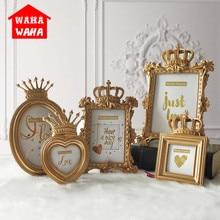 Europea corona de oro marco de foto creativa resina foto marco para escritorio marco de fotos de lujo para decoración para hogar y boda regalo arte