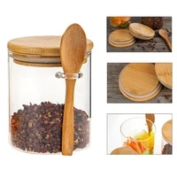 sugar bowl with bamboo lid and spoon clear glass canister jar for kitchen storag p82d