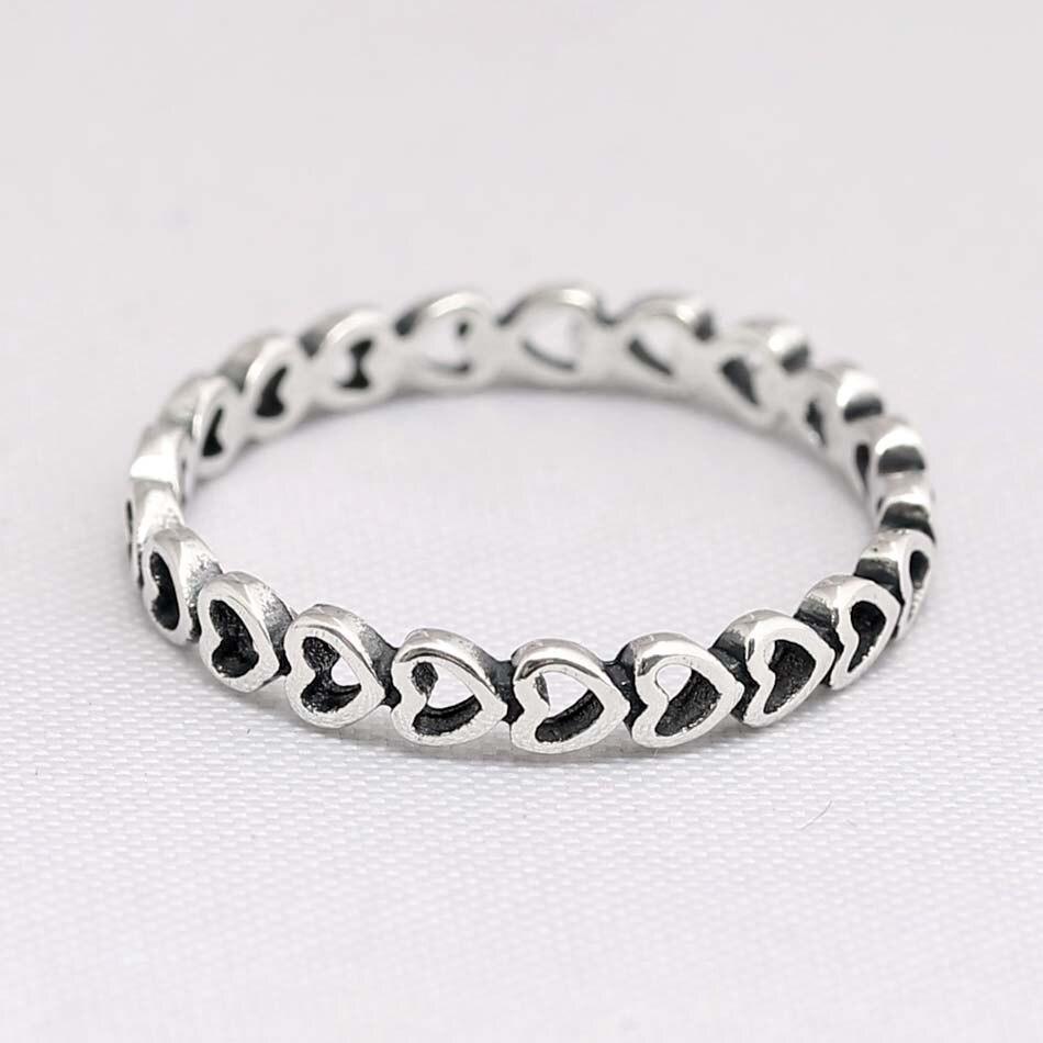 Original clássicos a céu aberto ligado amor coração anéis para mulher 925 prata esterlina anel festa de casamento presente europa jóias