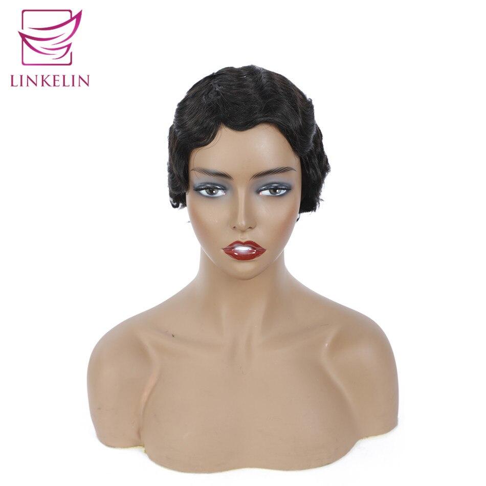 LINKELIN HAIR Pixie Cut Human Hair Wigs Brazilian Remy Human Hair Wig Full Machine Made Short Finger Wave Wigs