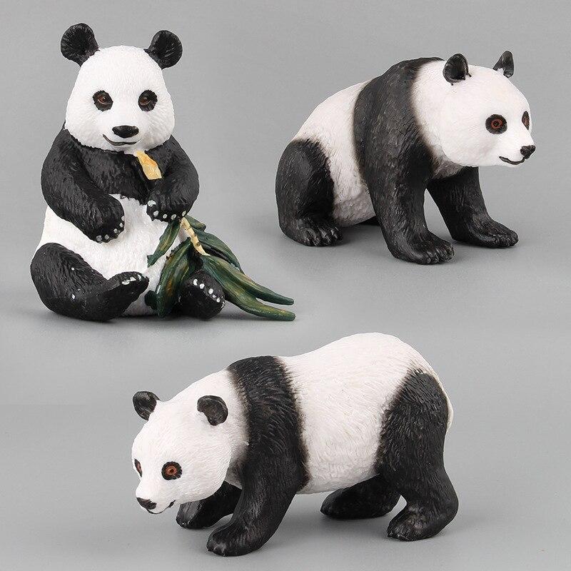 Modelo animal sólido tesouro nacional panda modelo de brinquedo 7 peça conjunto