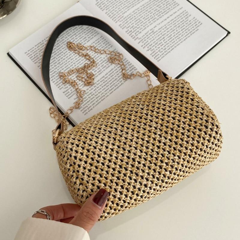 Small Summer Straw Crossbody Bags for Women 2021 Simple Chain Brand Shoulder Handbag Lady Luxury Fashion Ladies Beach Purses