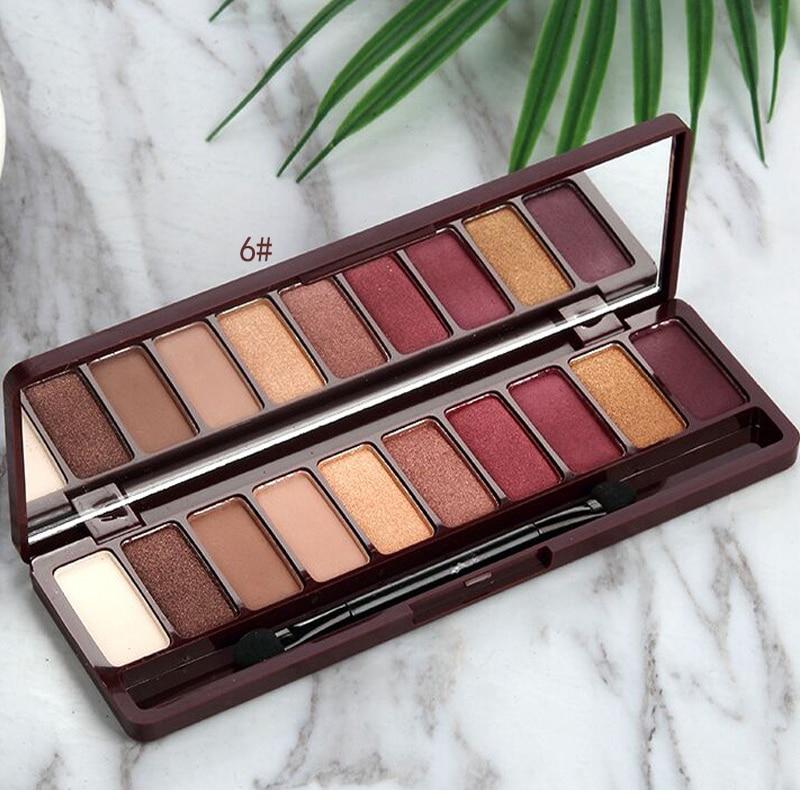 Paleta de 10 colores de sombra de ojos brillante glamurosa a prueba de agua no difuminar paleta de sombras de ojos Color cereza Nude brillo maquillaje