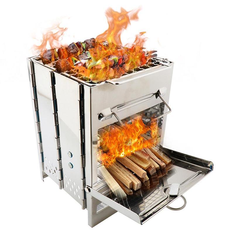 Наружная портативная стойка для гриля из нержавеющей стали, сковорода для кемпинга, жаровня, древесный уголь, барбекю, домашняя духовка, наб...