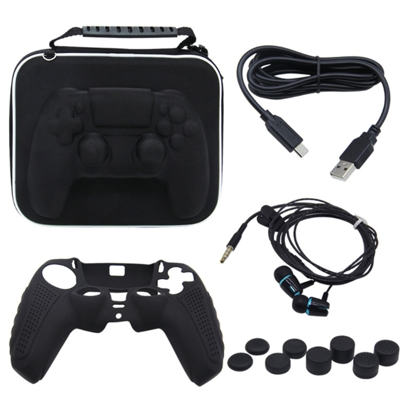 For -PS5 Gamepad Receptor Pack Set PS5 Silicone Protector Case Charging Cable Headphone 8-bit Plus High Cap 12 in 1